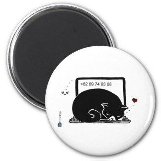 Laptop Cat Bed (Tuxedo - Black&White) 2 Inch Round Magnet