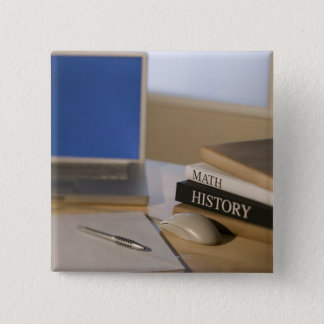 Laptop computer and textbooks pinback button