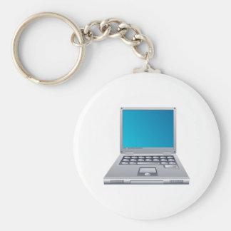 Laptop Computer Basic Round Button Keychain