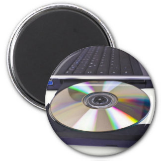 laptop computer with open optical disk drive 2 inch round magnet
