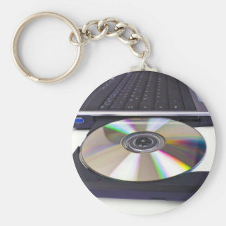 laptop computer with open optical disk drive keychain