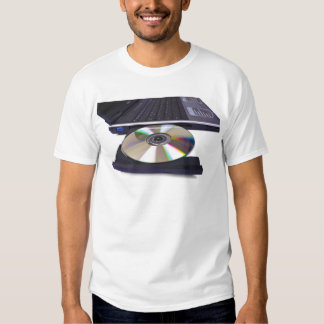 laptop computer with open optical disk drive t shirt