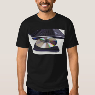 laptop computer with open optical disk drive tee shirt