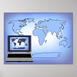 Laptop Computer World Map Print Poster