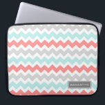"Laptop Coral Teal Chevron Custom Name Computer Sleeve<br><div class=""desc"">Laptop case with fun and modern peach pink orange,  turquoise aqua blue,  grey and white fun and retro chevrons zigzags stripes vintage pattern. Personalize this case with your own name or other custom text to create a truly unique case. Contact us to request a color change.</div>"