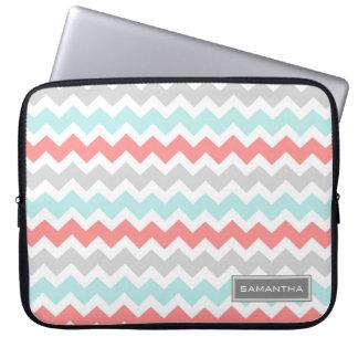 Laptop Coral Teal Chevron Custom Name Laptop Sleeves