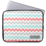 Laptop Coral Teal Chevron Custom Name Laptop Sleeves