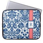 Laptop Custom Monogram Blue Coral Floral Damask Computer Sleeve