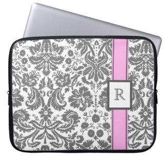 Laptop Custom Monogram Grey Pink Floral Damask Computer Sleeves