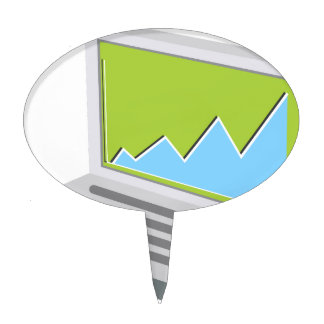 Laptop Financial Report Icon Cake Topper
