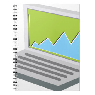 Laptop Financial Report Icon Notebook