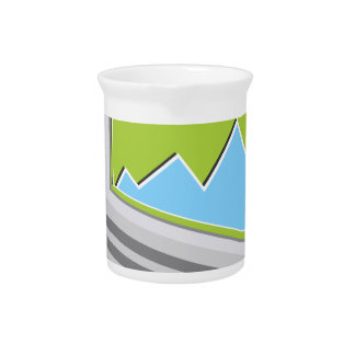 Laptop Financial Report Icon Beverage Pitcher