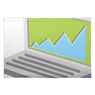 Laptop Financial Report Icon Cloth Place Mat