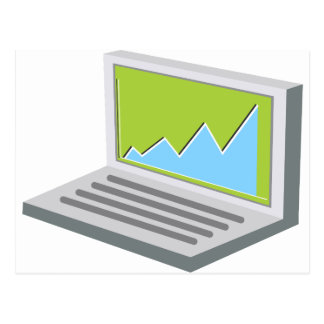Laptop Financial Report Icon Postcard