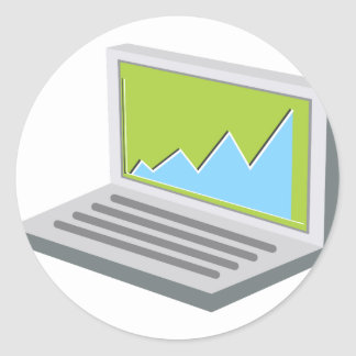 Laptop Financial Report Icon Classic Round Sticker