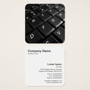 Professional Business Laptop Keyboard Square Business Card