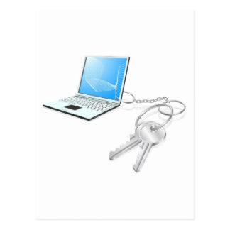 Laptop keys access concept post card