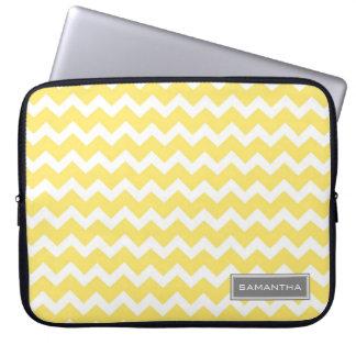 Laptop Lemon Chevron Custom Name Laptop Computer Sleeve
