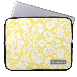 Laptop Lemon Damask Custom Name Computer Sleeve