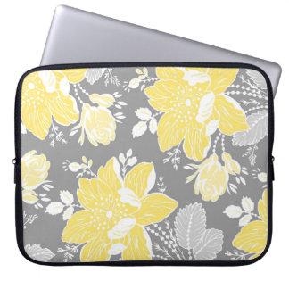 Laptop Lemon Gray Floral Pattern Laptop Sleeve