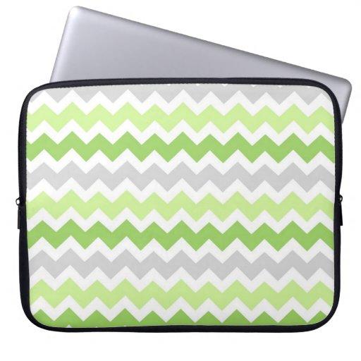 Laptop Lime Grey Chevrons Pattern Laptop Sleeves
