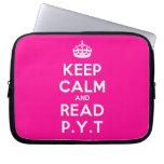 [Crown] keep calm and read p.y.t  Laptop/netbook Sleeves Laptop Sleeves