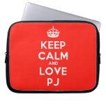 [Crown] keep calm and love pj  Laptop/netbook Sleeves Laptop Sleeves