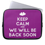 [Two hearts] keep calm and we will be back soon  Laptop/netbook Sleeves Laptop Sleeves