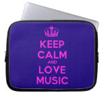[Dancing crown] keep calm and love music  Laptop/netbook Sleeves Laptop Sleeves