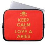 [Skull crossed bones] keep calm and love a aries  Laptop netbook Sleeves Laptop Sleeves