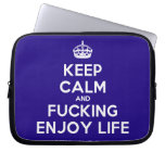 [Crown] keep calm and fucking enjoy life  Laptop netbook Sleeves Laptop Sleeves