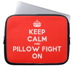 [Crown] keep calm and pillow fight on  Laptop/netbook Sleeves Laptop Sleeves