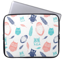 Laptop Owls Feathers Navy Blue Coral Laptop Sleeve