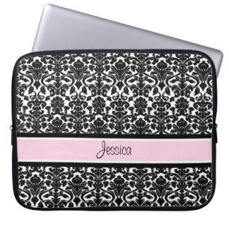 Laptop Pink Damask Custom Name Computer Sleeve