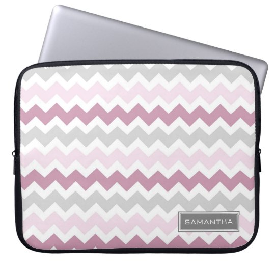 Laptop Pink Ombre Chevron Custom Name Laptop Sleeve