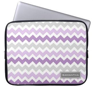 Laptop Purple Ombre Chevron Custom Name Laptop Sleeves