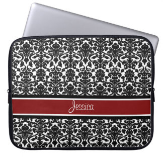 Laptop Red Damask Custom Name Computer Sleeve