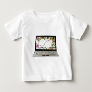 Laptop showing bull market chart baby T-Shirt