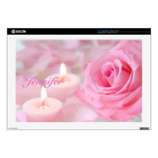 "Laptop Skin--Pink Rose & Candles 17"" Laptop Decal"