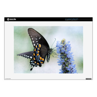Laptop skin with Butterfly on Blue Blossom desig