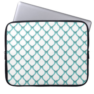 "laptop sleeve 15-17"", #133-1,aqua  bows"