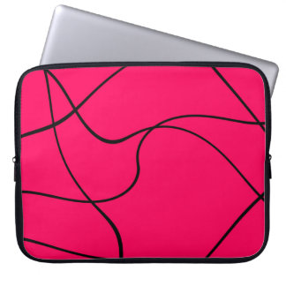 "Laptop sleeve - ""Abstract lines"" - Fuschia"