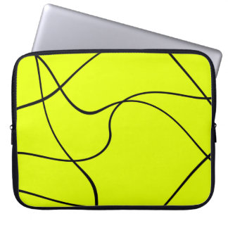 """Laptop sleeve - """"Abstract lines"""" - Green"""