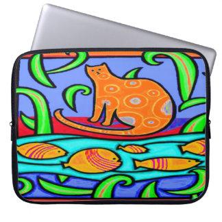 LAPTOP SLEEVE - CAT WATCHING FISH