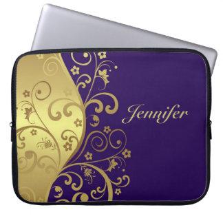Laptop Sleeve--Dark Purple & Gold Swirls Computer Sleeve