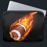 """Laptop Sleeve-Flaming Football Computer Sleeve<br><div class=""""desc"""">This 13&quot; laptop sleeve case is shown with a sports flaming football print. Customize this item or buy as is.</div>"""