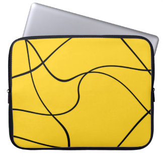 """Laptop sleeve - Model """"Abstract lines"""" - Yellow"""