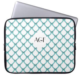 "laptop sleeve monogramed_15""-17"", #133 aqua, bows"