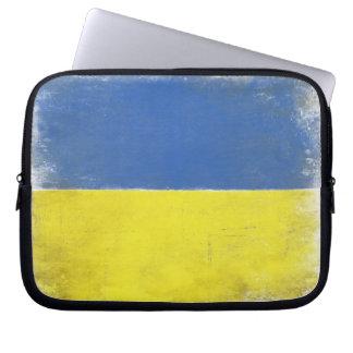 Laptop Sleeve with Distressed Ukrainian Flag Print