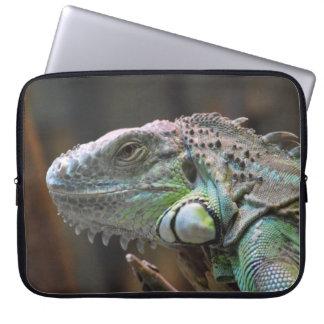 Laptop Sleeve with head of colourful Iguana lizard